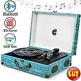 Wockoder Turntable Vinyl Plattenspieler Koffer Vintage Retro Bluetooth USB Nostalgie Schallplattenspieler mit Lautsprecher Riemenantrieb Aux-In RCA 33/45/78 U/min