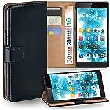 MoEx Huawei P8 Hülle Schwarz mit Karten-Fach [OneFlow 360° Book Klapp-Hülle] Handytasche Kunst-Leder Handyhülle für Huawei P8 Case Flip Cover Schutzhülle Tasche