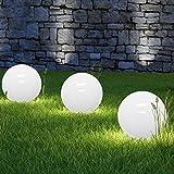3 x LED Solarkugel Marla mit Erdspieß, Durchmesser 20+25+30 cm Solarleuchte Gartenleuchte Kugelleuchte Gartenkugel