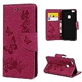 Huawei P10 Lite Hülle Case YOKIRIN Großer Schmetterling Wallet Tasche Hülle PU Leder Flipcase...