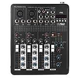 ammoon Professionelle Bluetooth 4-Kanäle Mic Line-Audio-Mixer Mischpult mit 3-Band EQ 48V Phantom...