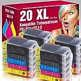 ms-point® 20 kompatible Patronen mit Chip für Canon Pixma IP4200 IP4200X IP4300 IP4500 IP4500X IP5200 IP5200R IP5300 IP6600 IP6600D IP6700D MP500 MP530 MP600 MP600R MP610 MP800 MP800R MP810 MP830 MP970 MX850 Pro9000 Pro9000MarkII PGI-5BK CLI-8BK CLI-8C CLI-8M CLI-8Y