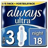 Always Ultra Night Binden (Größe3) Mit Flügeln, (4 x 18 Stück)