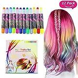 Buluri Haarkreide Non-Toxic 12 Farbe Natürliche Haare Kreide Stifte Temporäre Haarfarbe für Mädchen, Perfektes Geschenk für Karneval, Weihnachten & Geburtstag (White Package)