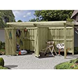 Gerätehaus Holz mit Flachdach Typ-2 Gartenhaus mit Unterstand 387 x 224 cm von Gartenpirat®
