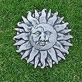 Steinfigur Wandrelief Sonne Mond Frostfest Steingesicht Steinguss Gartenfigur