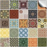 Tile Style Decals 24 stück Fliesenaufkleber für Küche und Bad 24x NTP 06-4' | Verschiedene Mosaik wandfliesen Aufkleber für 10x10cm Fliesen Deko Fliesenfolie für Küche u. Bad