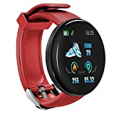 LZW Bluetooth Smart Watch Runde Uhr Sports Tracker wasserdichte Männer Und Frauen Fitness-Armband Kompatibel Mit Android Und IOS,Rot
