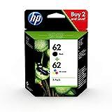 HP N9J71AE 62 Original-Tintenpatronen Schwarz und Tri-Color (Cyan, Magenta, Gelb), 2 Stück
