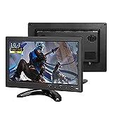 Pisichen 10,1 Zoll Tragbarer Monitor HD 1366x768 IPS Display Portable Sicherheitsmonitor mit USB VGA HDMI AV BNC Klein Monitor, Kunststoff schwarz
