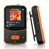 MP3 Player Bluetooth 5.0 Sport - Verlustfreier Sound FM Radio, Sprachaufzeichnung, E-Book und andere Funktionen, Unterstützt bis 128GB Kartenleser (Kopfhörer, USB-Kabel im enthalten)