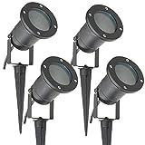 Long Life Lamp Company Gartenleuchte mit Erdspieß, GU10, für den Außenbereich, IP65, Matt-Schwarz,4 Stück