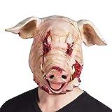 Boland 97519 - Latex Kopfmaske Blutiges Schwein, Rosa/Rot, Erwachsene, Einheitsgröße, Gruselmaske, Latexmasken, Kostüm-Karneval, Halloween, Mottoparty