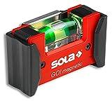 Sola GO! magnetic CLIP - Mini-Wasserwaage magnetisch aus glasfaserverstärktem Kunststoff - Magnet-Wasserwaage klein mit V-Nut für Rohre - kleine Pocket-Wasserwaage magnetisch - mit Gürtelklemme