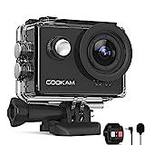 GOOKAM Action Cam 4K 60FPS 20MP WiFi Actionkamera 40M Unterwasserkamera EIS Sportkamera mit Externem Mikrofon 2.4G Fernbedienung Ultra HD Helmkamera 170°Weitwinkel mit 2x1350mAh Batterien(Go6)