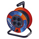 EMOS P19515 4-er Mini-Kabeltrommel 15m / 4-Fach Kabelrolle/Indoor Leitungsroller mit Kurbel, Überhitzungsschutz / 2300 W, IP20, 230 V