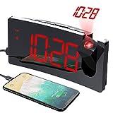 Mpow Wecker Digital, Projektionswecker mit USB-Anschluss, Große 5' LED Bildschirm, 4 einstellbare...