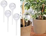 Royal Gardineer Bewässerungskugeln Glas: 4er-Set Gießfrei-Bewässerungs-Kugeln aus Glas, transparent, Ø 6 cm (Glas Wasserspender für Pflanzen)