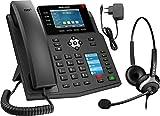 GEQUDIO IP Telefon GX5+ Set mit Netzteil Adapter & Headset - SIP VoIP - Fritzbox, Speedport kompatibel - Premium Freisprechen & 2X Farbdisplays - Anleitung (PDF) für Fritz Box, Telekom Speedport