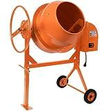 Betonmischer - 140L, 650W, mit Handrad, 2 Räder, elektrisch, Stahl, Orange - Mörtelmischer, Zementmischer, Mischer
