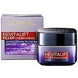 L'Oréal Paris Hyaluron Nachtpflege, Revitalift Filler, Anti-Aging Gesichtspflege, Anti-Falten und Volumen, Mit Hyaluronsäure, 50 ml