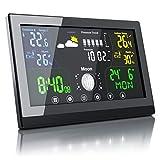 CSL - Funk Wetterstation mit Farbdisplay - inkl. Außensensor - Funkuhr - Innen und Außentemperatur - Luftdruck Höhenkorrektur - Prognosen Wettervorhersage - LCD Display