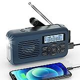 Raddy SW2 Kurbelradio Tragbares Solar Radio Notfall AM FM Dynoma Radio mit USB Handyladefunktion LED Taschenlampe und 2000mAh wiederaufladbares Batterie für Outdoor Camping