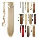 Ponytail Extensions Haarteil wie Echthaar Clip in Pferdeschwanz Zopf Extensions Weich Glatt Haarverlängerung 26'(65cm) Blond & Bleichblond 100g