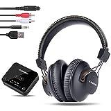 Avantree HT4189 40 Std. Akku, Kabellose Funkkopfhörer Kopfhörer für TV Fernseher mit Bluetooth Transmitter (Optisch, RCA, 3,5mm AUX, PC USB Audio), Plug & Play, No Delay, 30m Hohe Reichweite