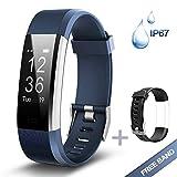 Lintelek Fitness Armband Herzfrequenzmesser Fitness Tracker Plus HR Sport Uhr Bracelet Spritzwasser geschützt Smartwatch Schrittzähler GPS Anrufe SMS Nachrichten Smart Armbanduhr