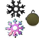 Schneeflocke Multi Werkzeug, 2 Stück 18 in 1 Schneeflocke Werkzeug Edelstahl Schneeflocke Handliches Werkzeug mit Karabinerhaken, Schlüsselring und Aufbewahrungstasche (color)