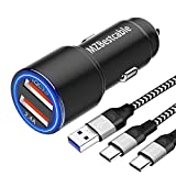 Auto Ladegerät USB für Samsung Galaxy S21 S10 S9 Plus S10E A42 A72 5G S8 A50 A21S M21 M31 M51 M12,Sony Xperia 1 5 10 II XZ3 XZ2 Compact Premium L4,Quick Charge 3.0/5.4A,KFZ Ladeadapter+2MX2 Ladekabel