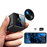 Mini Kamera, Full HD 1080P Tragbare Kleine WLAN Überwachungskamera mit Bewegungserkennung und Infrarot Nachtsicht Compact Sicherheit Kamera für Innen und Aussen mit Einer 32G SD-Karte