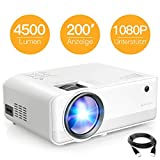 Beamer APEMAN Mini Beamer 4500 Lumen 1080P Full HD Unterstützt Handybeamer Projektor LED 50000...