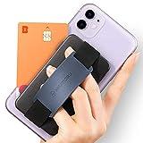 Sinjimoru Handy Kartenhalter, 3in1 Slim Wallet & Handy Halter mit Ständer, Handy Fingerhalter, Fingerhalterung Handy für iPhone und Android, Sinji Card Zip Band Grip. Schwarz mit Band Navy
