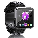 MP3 Player, SEWOBYE Voller Touchscreen MP3 Player Bluetooth, Fitness Bluetooth MP3 Player Sport mit Schrittzähler/FM Radio/Timer - Speicher Erweiterbar Bis 128 GB (Black)