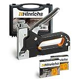 Hinrichs Handtacker mit Klammern im Koffer - Holztacker mit Nägeln - Tackerpistole Handwerker zum Fixieren - Tacker zum Basteln