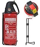 2kg Autofeuerlöscher Pulverlöscher Feuerlöscher, LKW PKW KFZ DIN EN 3 Manometer Halterung ABC 4LE (Ohne Prüfnachweis u. Jahresmarke)