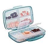 Tablettenbox 8 Fächer, Baoweihua Kleine Pillendose für Reisen im Freien, medikamenten box Feuchtigkeitsbeständigen Bauart - Blau