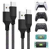 FASTSNAIL Ladekabel für Xbox-Serie S X Controller, 2 Stück [5 m + 1,5 m), Typ-C-Kabel für PS5-Controller, N-Switch/Lite/Pro-Controller, geflochtenes Nylon-Datenkabel für Handy, Tablet, USB-C-Geräte
