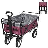 EUGAD Bollerwagen faltbar klappbar Transportkarre Handwagen mit 4 Rollen für Camping Einkaufen belastbar bis 80kg, Lila