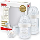 NUK Nature Sense Babyflaschen Starter Set   0–18 Monate   2 x Anti-Colic-Babyflaschen & Genius Schnuller   BPA-frei   Herz (neutral)   4 Stück