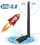 WLAN Stick WLAN Adapter PC WiFi Adapter USB 3.0 mit Thermisches Design für Windows/Mac OS/Linux/Desktop/Laptop/Notebook 1200Mbit/s Dualband (5 G/867Mbps 2.4G/300Mbps) 5dBi Antenne