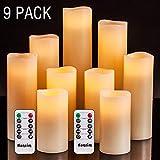LED Kerzen Set von 9 Flammenlose Kerzen Batteriebetriebene Kerzen D2.2xH 4'5' 6'7' 8'9' Echtwachssäule Kerzen Flackern mit Fernbedienung und Timer-Steuerung, Elfenbein Farbe(9x1)