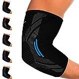 Kinetic Evolution Ellenbogenbandage für Damen und Herren, Sport Kompression, Atmungsaktiv, stabilisiert und unterstützt, Sportbandage für Tennis Voleyball Golf Handball (L, Blau)