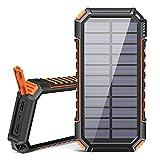 Riapow Solar Powerbank 26800mAh Tragbares Solar Ladegerät USB C Power Bank mit 3 Ausgängen...