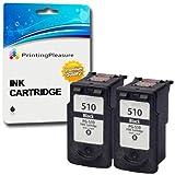 2 SCHWARZ Druckerpatronen für Canon Pixma iP2700 MP230 MP240 MP250 MP252 MP260 MP270 MP272 MP280 MP480 MP490 MP492 MP495 MP499 MX320 MX330 MX340 MX350 MX360 MX410 MX420 | kompatibel zu PG-510 (PG510)