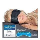 daydream Schlafmaske Frauen & Herren - Testsieger Schlafbrille und Augenmaske inkl. gratis Kühlkissen (= Kühlmaske), Schwarz