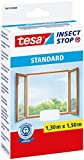 tesa Insect Stop STANDARD Fliegengitter für Fenster - Insektenschutz zuschneidbar - Mückenschutz ohne Bohren - 1 x Fliegen Netz weiß - 130 cm x 150 cm