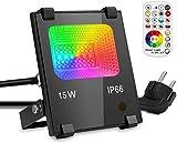 LED Strahler RGB Lampe GIM,15W Dimmbar Fernbedienung 120 Farben 4 Modi, IP66 Wasserdicht LED Flutlicht, Aluminium Außen Scheinwerfer, Gartenstrahler, Garten Stimmungslichter